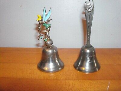 2-Vintage Walt Disney Tinkerbell  -mickey Bell  Collectible Souvenir  3 in