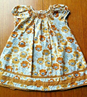 Girls Next dress. Age 2-3. Mustard / Yellow - flowers / floral pattern Summer