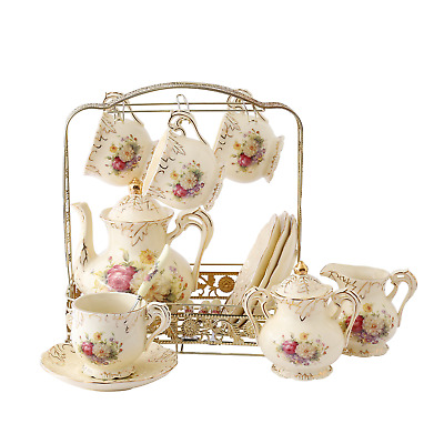 ufengke 11 Piece Creative European Luxury Tea Set, Ivory Porcelain Ceramic Set
