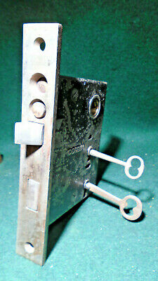 "Circa 1900 Corbin #1230 1/4 Entry Mortise Lock: Double Key 6 7/8"" Face - (12364)"
