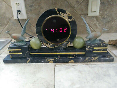 Antique Vintage Marble Red Digital Display Shelf Mantle Desk Clock