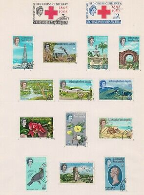 (BTT-53) 1963 St Christopher Nevis ANGUILLA set of 16stamps QEII 1/2c to$5 (BC)
