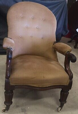 Antique Regency Period Mahogany Library Button Back Chair