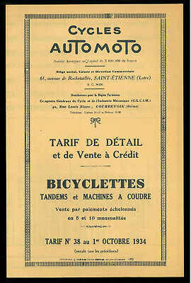 ORIGINAL Tarif Cycles AUTOMOTO 1934 / 1935 Bicyclettes Vélos Tandems Catalogue
