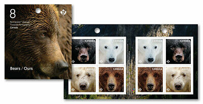 2019 Canada Bears Booklet Of 8 Stamps Grizzly Polar Kermode Black Bear Animals