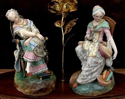 Antique French Jean Gille/ Vion&Baury Pair Of Bisque Figurines Of Maidens
