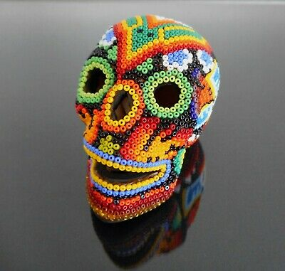 Day of the Dead Skull Huichol Beaded Art Signed Mexican Folk Art Clay Sculpture