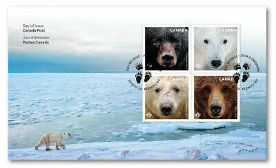 2019 Canada Bears First Day Cover 4 Stamps Grizzly Polar Kermode FDC Animals