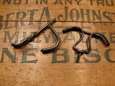 Vintage Twisted Wire Metal Hat Coat Hooks Hangers Screw In Type Old Antique