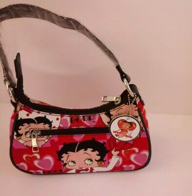 Betty Boop Red Pink & Black Purse 9 inch wide 5inch height. See Description