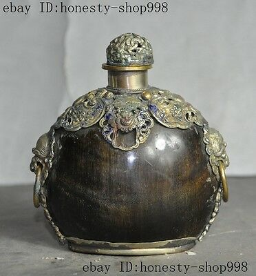 Collect Old Chinese Ox Horn Inlay tibet silver Cloisonne Beast Head snuff bottle