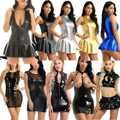 Women Shiny Dance Dress Metallic Ballet Latin Party Clubwear Tight Micro Skirt