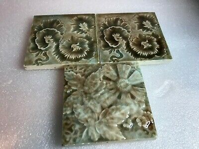 ANTIQUE Trent Pottery Victorian Majolica Tiles (3) FLORAL