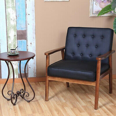 Retro Modern Arm Accent Chair PU Cushioned Seat Wooden Lounge Sofa Home Office