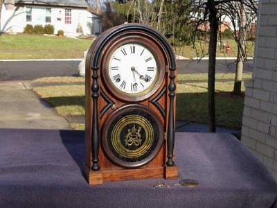 Atkins Venetian Shelf Mantle Clock Original Finish Label Dial Painted Gold Glass