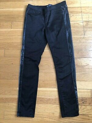 Tractor Girls Black Thick Stretch Leggings Pants With Fake Leather Sz 12