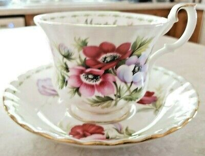 Month of March Anemones Royal Albert Flowers Bone China Footed Cup and Saucer