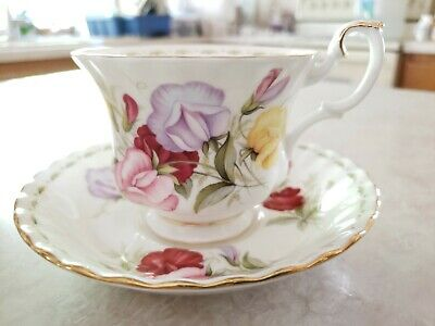Month of April Sweet Pea Royal Albert Flowers Bone China Footed Cup and Saucer