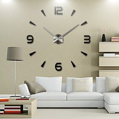 DIY 3D Large Number Mirror Wall Clock Sticker Decor for Home Office Room UK