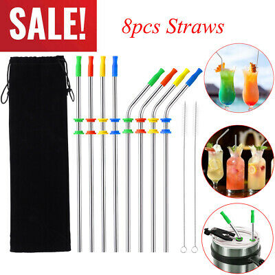 Metal Drinking Straws Reusable Stainless Steel Rubber Silicone Tips 10pc Tumbler