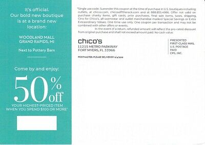 Chico's Coupon 50% off  exp. 8/17/2019