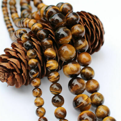 "15"" Natural Tiger's Eye Gemstone Loose Round Spacer Beads Strand 4/8/10/12MM Lot"