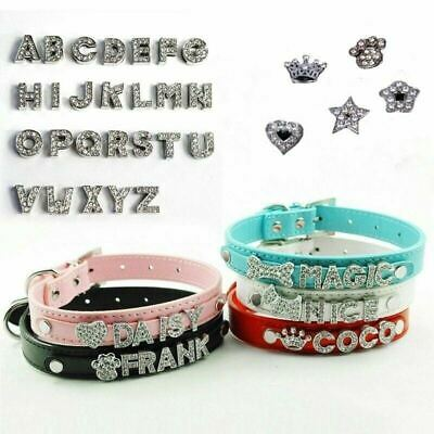 Bling Pet Leather Personalized Name Collar Rhinestone Letters Dog Cat 4 sizes