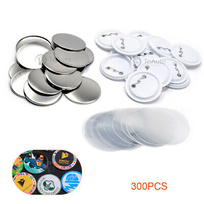 300Sets Blank Pin Badge Button Parts Supplies for Pro Maker Machine DIY Material