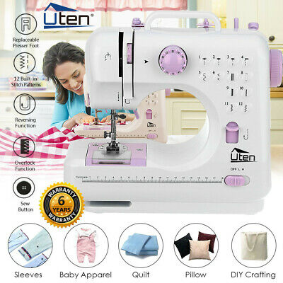 12 Stitch Portable Electric LED Sewing Machine DIY Overlock 2 Speed Foot Pedal