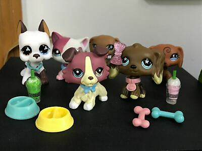 Littlest Pet Shop LPS Collie Short Hair Cat 391 Dachshund Dog Rare Toy 6PCS