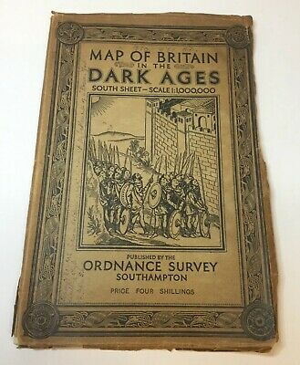 1935 Old Vintage OS Ordnance Survey Map of Britain in the Dark Ages South