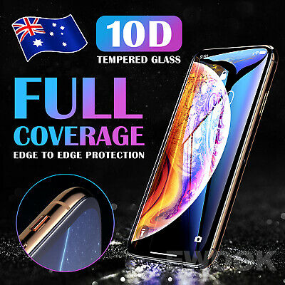 For iPhone XS Max XR X 10D Tempered Glass Screen Protector Full Cover 8 7 Plus