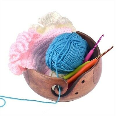 Women Handmade Yarn Organizer Wool Knitting Storage Wooden Bowl Sewing Tools Hot