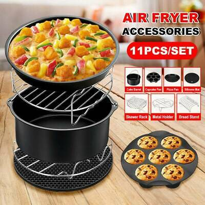"""7Pcs Set 8"""" Air Fryer Accessories Rack Cake Pizza BBQ Barbecue Frying Pan Tray"""