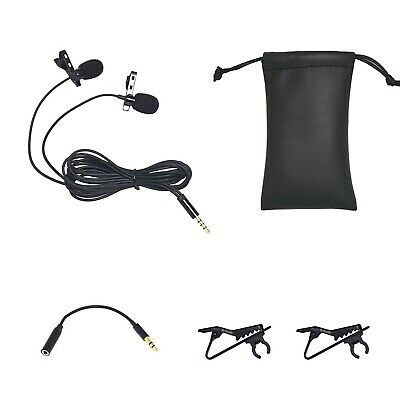 Dual Lavalier Microphone, Lapel Interview Clip-on Mini Omnidirectional Condenser