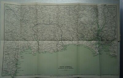 1924 Vintage Map of South Cornwall (Plymouth to St. Austell) - Bodmin, Liskeard.