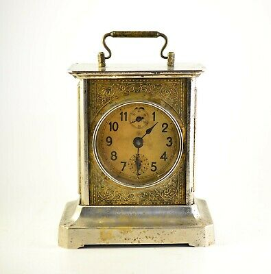 Rare Vintage 1920s Antique Junghans  Mantel Carriage Lantern Clock  Germany