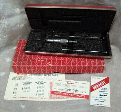 L.S. STARRETT ~ No. 445AZ-3RL ~ MICROMETER DEPTH GAGE ~ USED