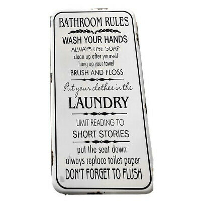 Country Tin Sign Vintage Inspired Enamel Wall Art BATHROOM RULES Retro Plaque...
