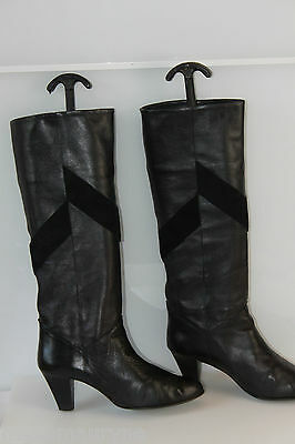 Boots Bally France Model Privilege Black Leather T 38 Very Good Condition