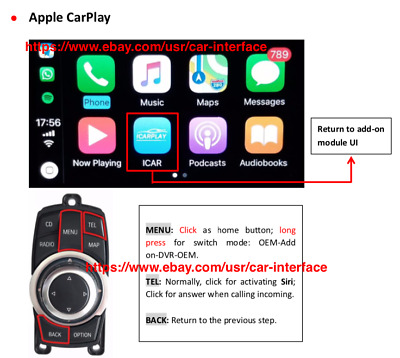 CarPlay BMW NBT 2013-2017 Android auto Mirror link Reverse video Interfaces
