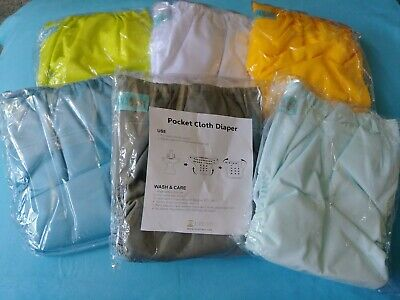 6DM 12 inserts Girl Color Alva Baby Reuseable Washable Pocket Cloth 6 diapers
