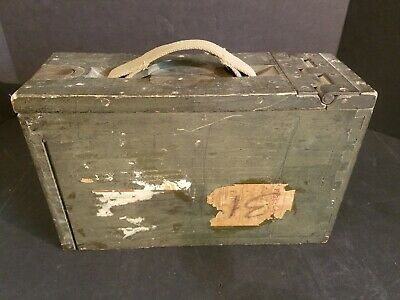 ANTIQUE WWI/WWII WOODEN ARMY AMMO BOX With CLOTH HANDLE CHEST 49-1-84