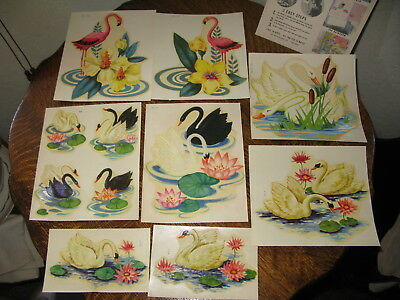 "Vintage Myercord Decals x8 Swans Flamingos in Original Pkg  6""x7"", 4""x6"" 1960's?"