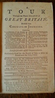 1769 Daniel Defoe - A Tour Whole Island Of Great Britain Vol 1. Leather Binding