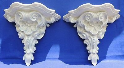 "Pair Large Vintage 19"" Ornate Distressed Shabby Floating Wall Shelves Sconces"