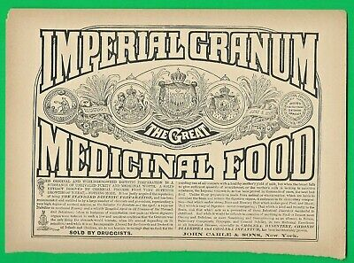 1887 Ad ~ Imperial Granum Dietetic Extract ~ The Great Medicinal Food ~ Quack