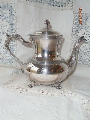 Antique Vtg Hartford Sterling Co Quadruple Platted Teapot 4 Cup Footed A Inital