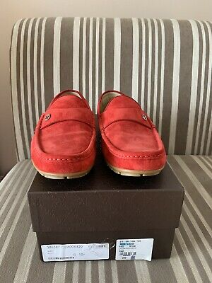 1be910674 Mens GUCCI PECK red suede driving loafers / moccasins GUCCI sz. 10.5 G, US