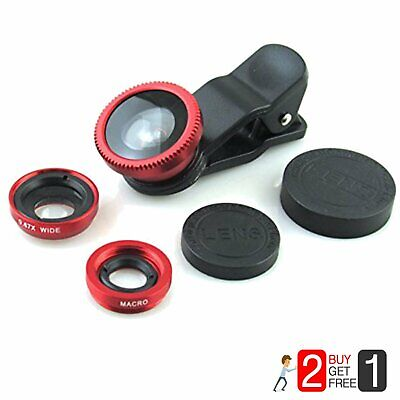 For Cell Phone Fish Eye Camera Lens Kit, 2 in 1 Clip-on Wide, Angle Macro Red